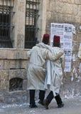Purim in Mea Shearim. JERUSALEM - MARS 09 : Ultra Orthodox men during Purim in Mea Shearim Jerusalem on Mars 09 2012 , Purim is a Jewish holiday celebrates the Royalty Free Stock Photos