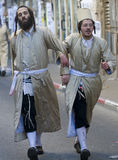 Purim in Mea Shearim. JERUSALEM - MARS 09 : Ultra Orthodox men during Purim in Mea Shearim Jerusalem on Mars 09 2012 , Purim is a Jewish holiday celebrates the Royalty Free Stock Images