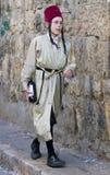 Purim in Mea Shearim. JERUSALEM - MARS 09 : Ultra Orthodox costumed boy during Purim in Mea Shearim Jerusalem on Mars 09 2012 , Purim is a Jewish holiday Stock Images