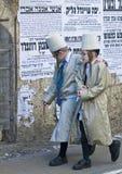 Purim in Mea Shearim. JERUSALEM - MARS 09 : Ultra Orthodox costumed boys during Purim in Mea Shearim Jerusalem on Mars 09 2012 , Purim is a Jewish holiday royalty free stock image