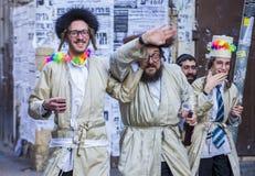 Purim in Mea Shearim Lizenzfreies Stockbild