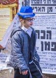 Purim in Mea Shearim Stockbilder