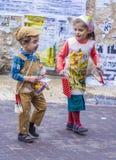 Purim in Mea Shearim Lizenzfreie Stockfotos