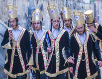 Purim in Mea Shearim. JERUSALEM - MARCH 13 : Ultra Orthodox boys during Purim in Mea Shearim Jerusalem on March 13 2017 , Purim is a Jewish holiday celebrates Stock Photos