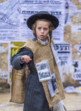 Purim in Mea Shearim. JERUSALEM - MARCH 13 : Ultra Orthodox child during Purim in Mea Shearim Jerusalem on March 13 2017 , Purim is a Jewish holiday celebrates stock photography