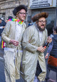 Purim in Mea Shearim. JERUSALEM - MARCH 13 : Ultra Orthodox drunk man during Purim in Mea Shearim Jerusalem on March 13 2017 , Purim is a Jewish holiday Royalty Free Stock Photo