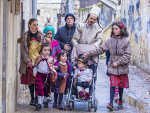 Purim in Mea Shearim. JERUSALEM - MARCH 13 : Ultra Orthodox family during Purim in Mea Shearim Jerusalem on March 13 2017 , Purim is a Jewish holiday celebrates Royalty Free Stock Images