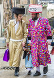 Purim in Mea Shearim. JERUSALEM - MARCH 13 : Ultra Orthodox men during Purim in Mea Shearim Jerusalem on March 13 2017 , Purim is a Jewish holiday celebrates the Stock Images