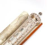 purim Megilat Есфирь серебр Написанный на пергаменте Стоковые Изображения RF