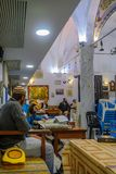 Purim 2018 in the old Abuhav synagogue, Safed Tzfat. SAFED, ISRAEL - FEB 28, 2018: Traditional Purim Jewish Holiday in the old Abuhav synagogue with prayers Stock Photos