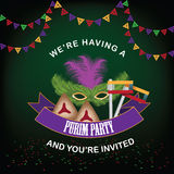 Purim party invitation design Royalty Free Stock Photography