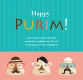 Purim party invitation with hipster Haman Ears Royalty Free Stock Image