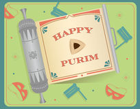 Purim Scroll. An open scroll with Happy Purim text on it. Eps10 Royalty Free Stock Photography