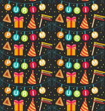 Purim seamless pattern with carnival elements. Happy Jewish festival, endless background, texture, wallpaper. Vector Stock Image