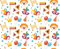 Purim seamless pattern with carnival elements. Happy  Jewish festival, , endless background, texture, wallpaper. Vector Royalty Free Stock Images