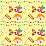 Purim seamless pattern with carnival elements. Happy Jewish festival, endless background, texture, wallpaper. Vector Royalty Free Stock Photos
