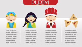 Purim Story. Symbols of Jewish holiday purim. infographics design Stock Images