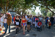A Purim street party in Tel-aviv Israel Royalty Free Stock Image
