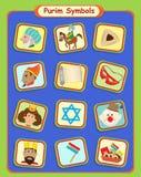 Purim Symbols. Cute Purim holiday symbols. Eps10 Stock Images