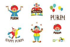 Purim template design set with clowns, Jewih holiday Royalty Free Stock Images