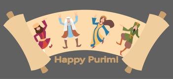 Purimgroeten, Megillat-de vector van het Esterbeeldverhaal stock illustratie