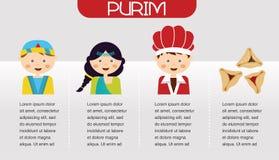 Purimverhaal Symbolen van Joodse vakantie purim Het ontwerp van Infographics royalty-vrije illustratie