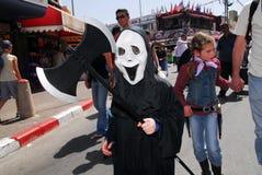 Purimviering - Adloyada-parade in Israël stock foto