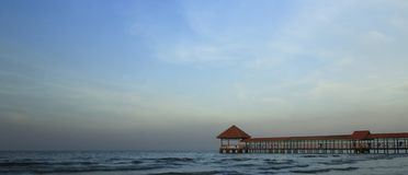 Purin Beach Pier in Tegal regency, Indonesia. stock image