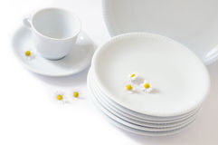 Purity. White plates and cup on white background Stock Images