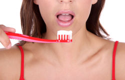 Purity dentist. Clean woman with toothbrush cleaning royalty free stock photos