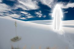 Purity. Figure in shining cloak stands at the desert. This image created in entirety by me and is entirely owned by me and is entirely legal for me to sell and Royalty Free Stock Photos