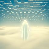 Purity. Figure in shining cloak stands on a field of clouds Stock Photos