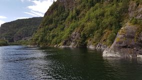 Purity, fjord cruise Bergen-Mostraumen, Norway – July 2017. The purity and the tranquility of the Mostraumen fjord in the summer Stock Photography