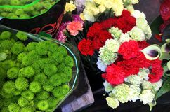 Colorful variety of flowers sold in the market in Milan, Italy royalty free stock photos