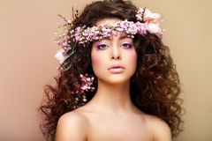 Purity. Freshness. Virginity. Attractive Charming Woman with Frizzy Hairs Stock Photos
