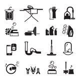 Purity icons set. Cleaning products. Set of black icons on a black background Royalty Free Stock Photography
