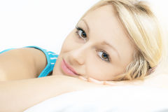 Purity woman. Closeup portrait of beautiful woman relaxing Royalty Free Stock Photo