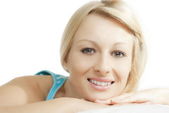 Purity woman. Closeup portrait of beautiful woman relaxing Royalty Free Stock Image