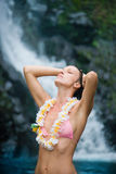 Purity woman waterfall lei Royalty Free Stock Photos