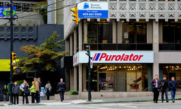 Purolator Verschepend Centrum, Vancouver, BC Stock Foto's