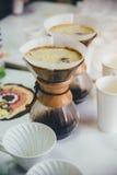Purover is op de lijst voor het proeven van koffie Stock Foto