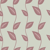 Purper blad op grijze achtergrond naadloze patroonillustratie Stock Fotografie