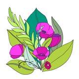Purper bloemboeket voor uitnodigingskaartje, kaart, druk Modern malplaatje met bloeiende over geïsoleerde bloemen en bladeren Stock Foto
