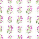 Purper bloemen naadloos patroon op witte achtergrond Stock Afbeelding