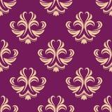 Purper en beige naadloos bloemenpatroon Royalty-vrije Stock Afbeeldingen