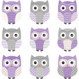 Purper Grey Cute Owl Collections Stock Afbeelding