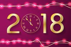 Purper Nieuwjaar 2018 concept met realistische Kerstmislichten op fonkelingenachtergrond Royalty-vrije Stock Foto's