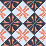 Purper oranje blauw behang abstract patroon met vierkanten en bloemenmotief royalty-vrije illustratie