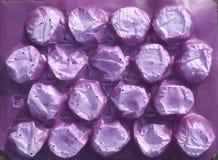 Purper plastic verpakkingsmateriaal om kwetsbaar fruit te vervoeren stock foto's