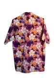 Purper Songkran-Overhemd met bloempatroon op wit Stock Fotografie